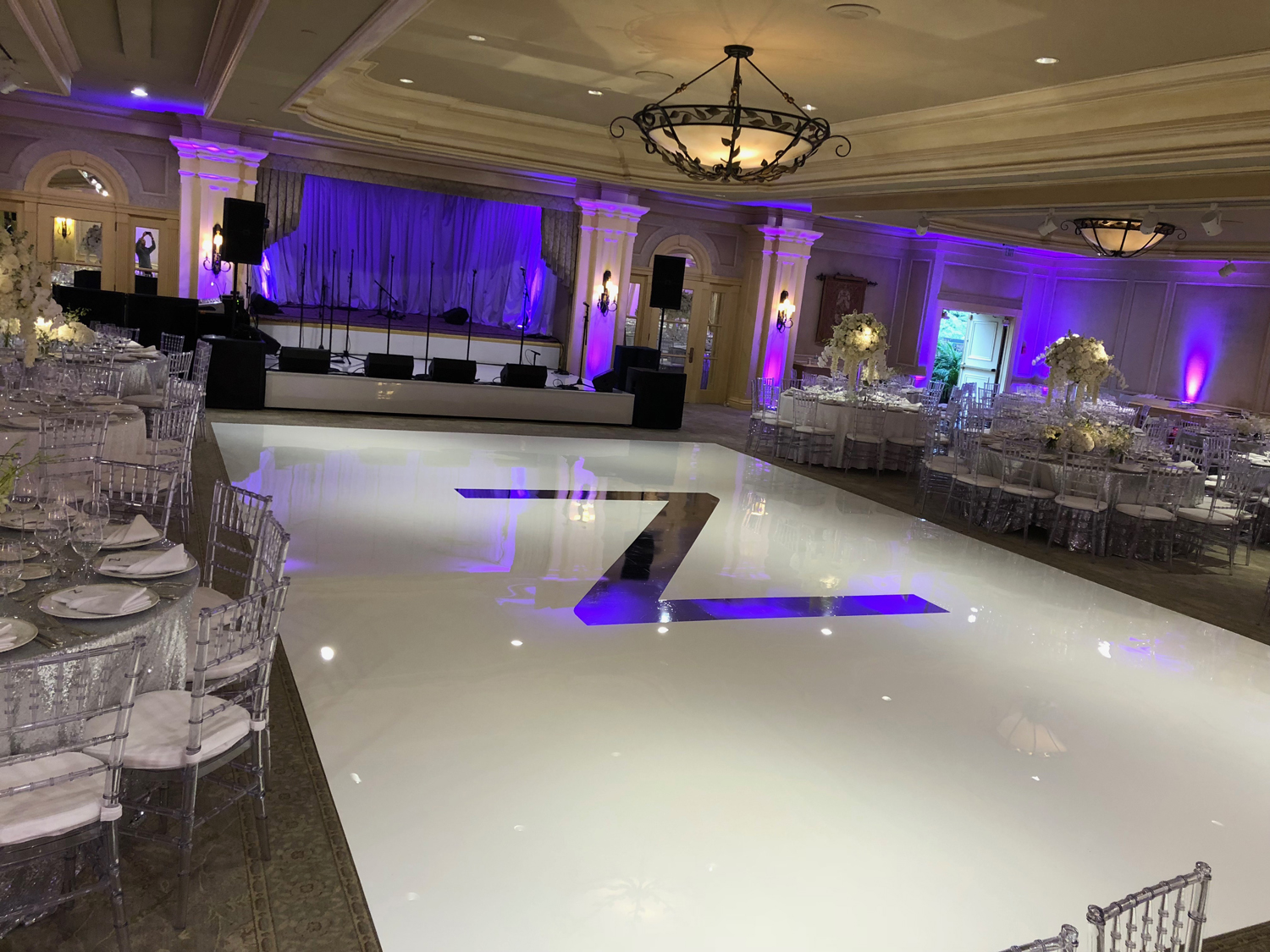 White Dance Floor Rental With Monogram Long Island Nyc Westchester
